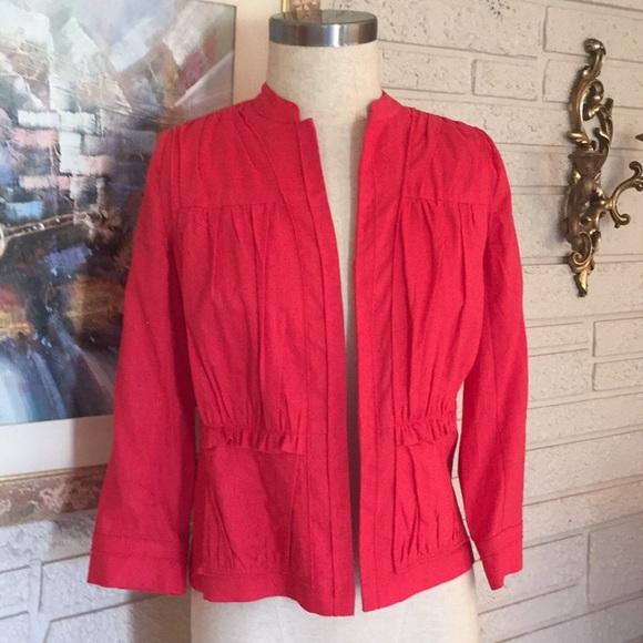 Chico's Jackets & Blazers - Chico's Red Mandarin Collar Linen Look Jacket